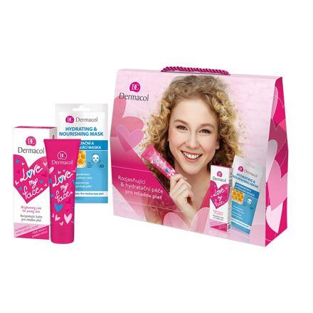 Dermacol Love My Face Brightening Care sada denní pleťová péče 50 ml + pleťová maska Hydrating & Nourishing 15 ml pro ženy