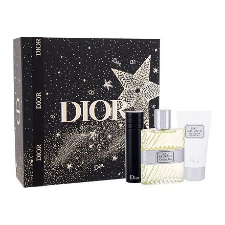 Christian Dior Eau Sauvage sada toaletní voda 100 ml + sprchový gel 50 ml + toaletní voda naplnitelná 10 ml pro muže