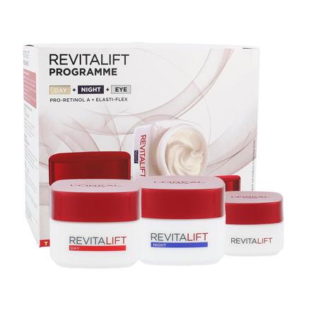 L´Oréal Paris Revitalift sada denní pleťová péče 50 ml + noční pleťová péče 50 ml + oční krém 15 ml pro ženy
