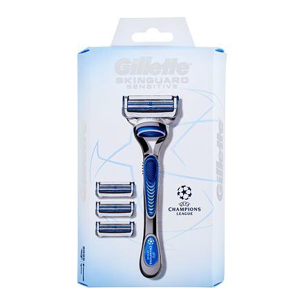 Gillette Skinguard Sensitive Champions League 1 ks sada holicí strojek s jednou hlavicí 1 ks + náhradní hlavice 3 ks pro muže