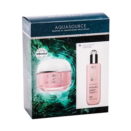 Biotherm Aquasource sada denní pleťová péče 50 ml + čisticí pleťové mléko Biosource 200 ml pro ženy