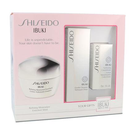 Shiseido Ibuki sada pleťový krém Refining Moisturizer Enriched 50 ml + čisticí pěna Gentle Cleanser 30 ml + zklidňující pleťová emulze Softening Concentrate 15 ml pro ženy