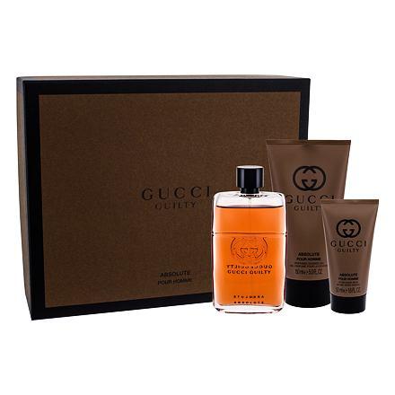 Gucci Guilty Absolute Pour Homme sada parfémovaná voda 90 ml + balzám po holení 50 ml + sprchový gel 150 ml pro muže