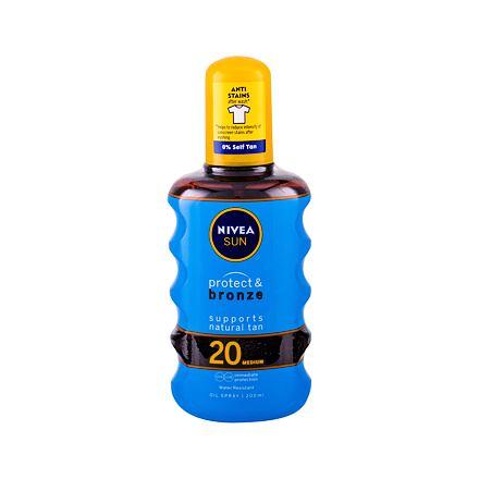 Nivea Sun Protect & Bronze Oil Spray SPF20 200 ml voděodolný opalovací olej ve spreji