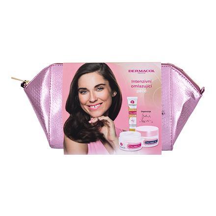 Dermacol Collagen+ 50 ml sada denní pleťová péče SPF 10 50 ml + noční pleťová péče 50 ml + pleťové sérum 12 ml + kosmetická taštička pro ženy