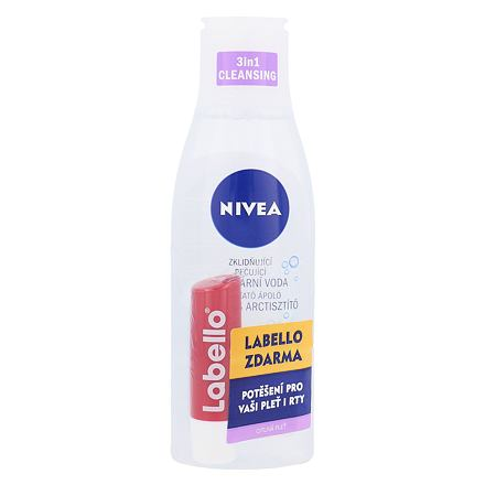 Nivea Sensitive 3in1 Micellar Cleansing Water sada micelární voda 200 ml + balzám na rty 5,5 ml Cherry Shine pro ženy
