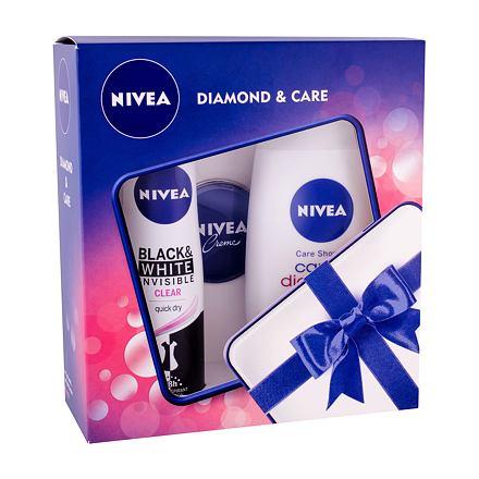Nivea Care & Diamond sada sprchový gel Care & Diamond 250 ml + anti-perspirant Invisible For Black & White Clear 150 ml + Nivea Creme 30 ml pro ženy