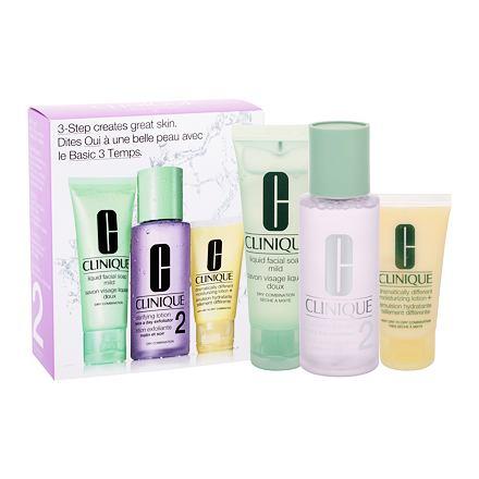Clinique 3-Step Skin Care 2 sada čisticí voda Clarifying Lotion 100 ml + čisticí mýdlo Liquid Facial Soap Mild 50 ml + hydratační přípravek DDML 30 ml pro ženy