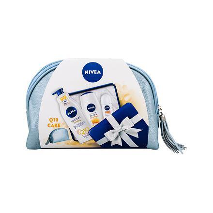 Nivea Care & Orange sada sprchový gel 250 ml + zpevňující tělové mléko Q10 400 ml + antipersp