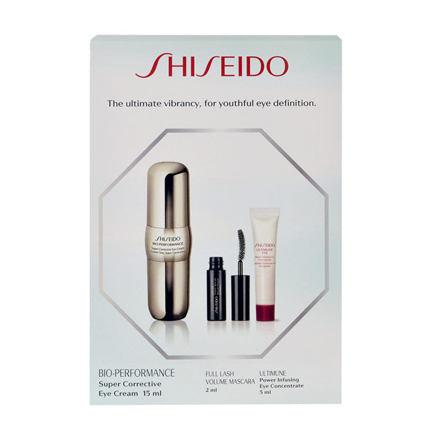 Shiseido Bio-Performance Eye2Eye sada oční krém BIO-PERFORMANCE Super Corrective 15 ml + řasenka Full Lash Volume 2 ml + oční péče Ultimune Power Infusing Eye Concentrate 5 ml pro ženy