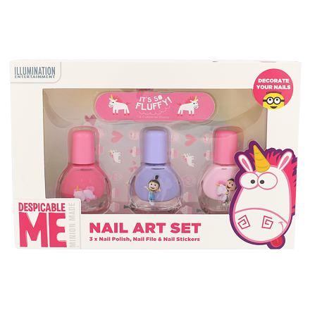 Minions Unicorns sada lak na nehty 3 x 4 ml + pilník 1 ks + samolepky na nehty pro děti