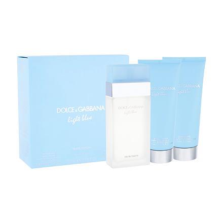 Dolce&Gabbana Light Blue sada toaletní voda 100 ml + tělový krém 100 ml + sprchový gel 100 ml pro ženy