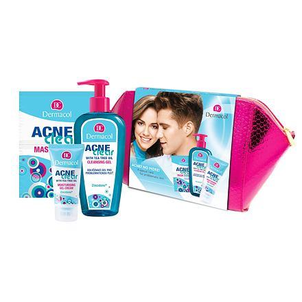 Dermacol AcneClear Cleansing Gel sada odličovací gel 200 ml + hydratační gel-krém 50 ml + pleťová maska 2 x 8 g+ kosmetická taštička pro ženy