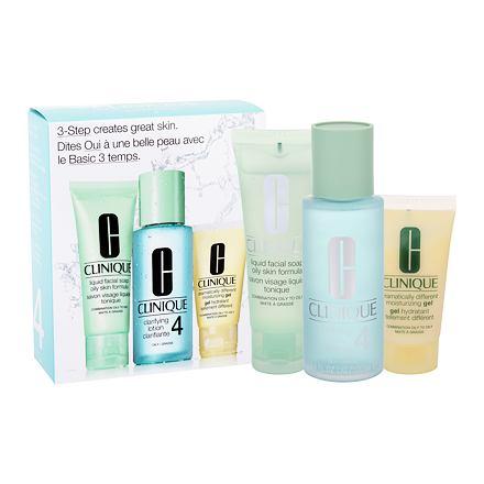 Clinique 3-Step Skin Care 4 sada čisticí voda Clarifying Lotion 4 100 ml + čisticí mýdlo Liquid Facial Soap 50 ml + hydratační emulze DDMgel 30 ml pro ženy