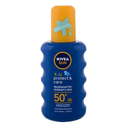Nivea Sun Kids Protect & Care Sun Spray SPF50+ 200 ml voděodolný barevný sprej na opalování