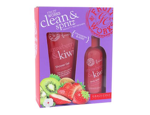 Grace Cole Fruit Works Strawberry & Kiwi sprchový gel sprchový gel Strawberry & Kiwi 100 ml + tělový sprej Strawberry & Kiwi 100 ml pro ženy